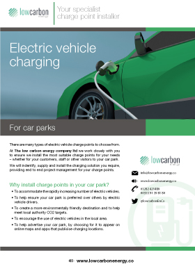 Electric Vehicle Charging For Car Parks