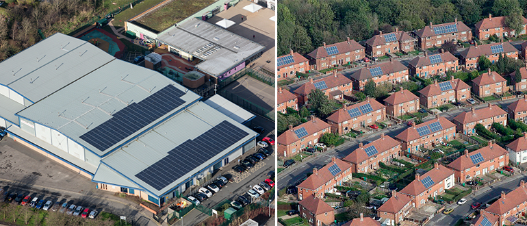solar panels on residential and commercial buildings