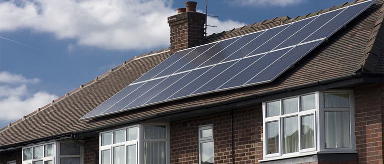 UK home using solar panels